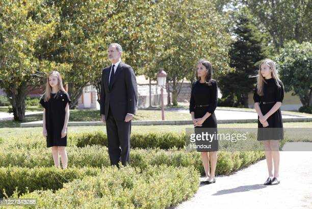 In this handout provide by Casa de S.M. El Rey Spanish Royal Household, King Felipe VI of Spain, Princess Leonor of Spain, Queen Letizia of Spain and...