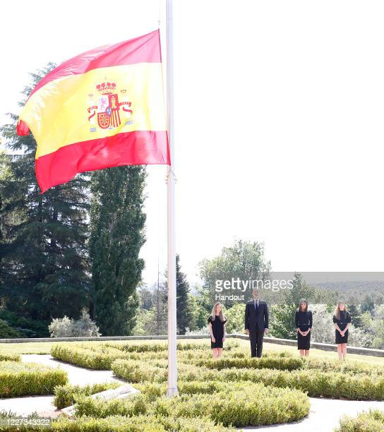 In this handout provide by Casa de S.M. El Rey Spanish Royal Household, King Felipe VI of Spain, Princess Leonor of Spain, Queen Letizia of Spain and...