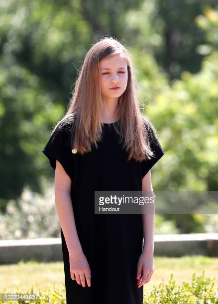 In this handout provide by Casa de S.M. El Rey Spanish Royal Household, Princess Leonor of Spain takes a minute of silence for the COVID 19 victims...