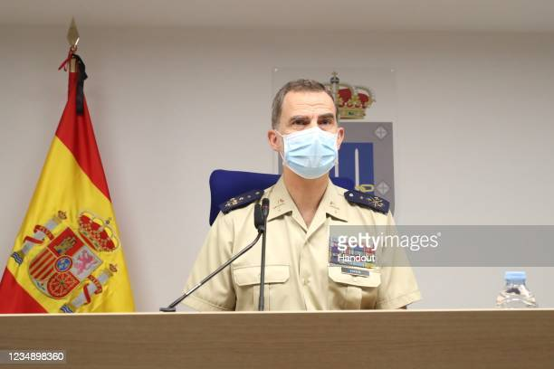 In this handout provide by Casa de SM el Rey Spanish Royal Household King Felipe VI of Spain attend the Armed Forces day on May 30 2020 in Madrid...