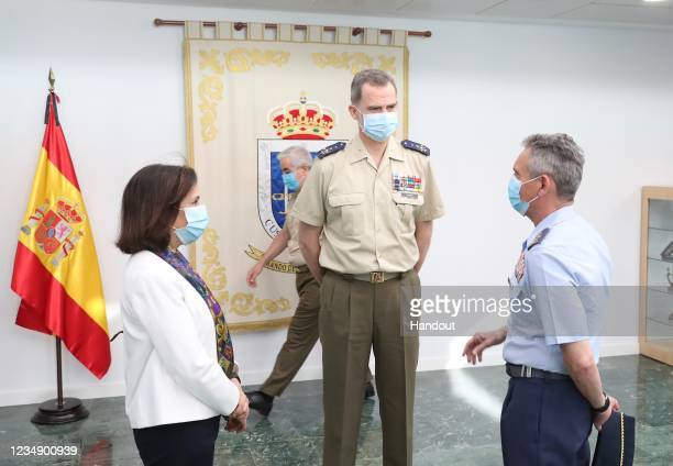 In this handout provide by Casa de SM el Rey Spanish Royal Household King Felipe VI of Spain attends the Armed Forces day on May 30 2020 in Madrid...