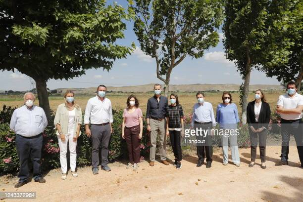 In this handout provide by Casa de SM el Rey Spanish Royal Household King Felipe VI of Spain and Queen Letizia of Spain visit Vega San Martin...