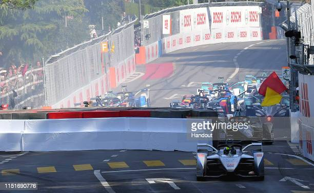 In this handout provided by ABB FIA Formula E Felipe Massa Venturi Formula E Venturi VFE05 cuts the chicane after crash during the Swiss EPrix Race...