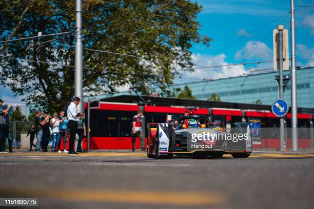 In this handout provided by ABB FIA Formula E, Lucas Di Grassi , Audi Sport ABT Schaeffler, Audi e-tron FE05 compete during the Swiss E-Prix, Race 11...