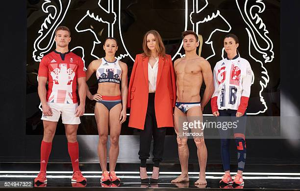 In this handout provided by adidas Creative Director Stella McCartney joins Team GB and ParalympicsGB athletes to unveil the new adidas and Stella...