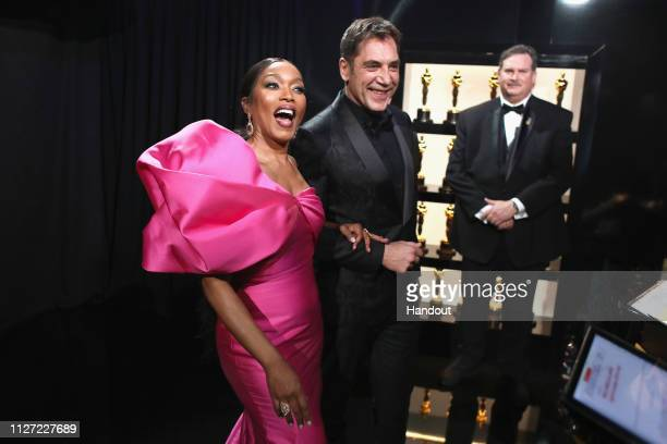 In this handout provided by AMPAS Angela Bassett and Javier Bardem pose backstage during the 91st Annual Academy Awards at the Dolby Theatre on...