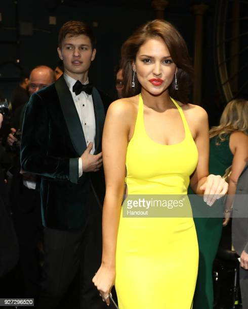 In this handout provided by AMPAS Ansel Elgort and Eiza Gonzalez attend the 90th Annual Academy Awards at the Dolby Theatre on March 4 2018 in...