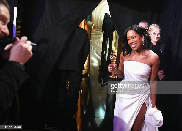 In this handout provided by AMPAS Best Actress in a Supporting Role winner Regina King poses backstage during the 91st Annual Academy Awards at the...