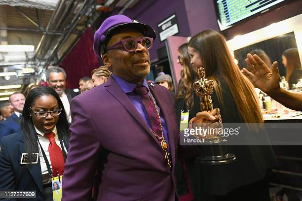 In this handout provided by AMPAS Best Adapted Screenplay winner from BlacKkKlansman Spike Lee poses backstage during the 91st Annual Academy Awards...