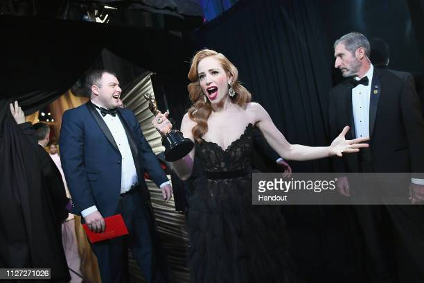 In this handout provided by A.M.P.A.S., Best Live Action Short Film winner for 'Skin' Jaime Ray Newman poses backstage during the 91st Annual Academy...