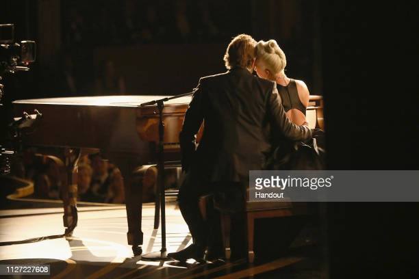 In this handout provided by AMPAS Bradley Cooper and Lady Gaga perform onstage during the 91st Annual Academy Awards at the Dolby Theatre on February...