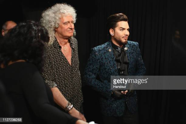 In this handout provided by AMPAS Brian May and Adam Lambert pose backstage during the 91st Annual Academy Awards at the Dolby Theatre on February 24...