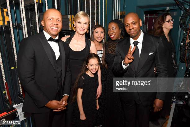 In this handout provided by AMPAS Bryan Stevenson Cecile Richards Bana Alabed guest Tarana Burke and Dave Chappelle attend the 90th Annual Academy...