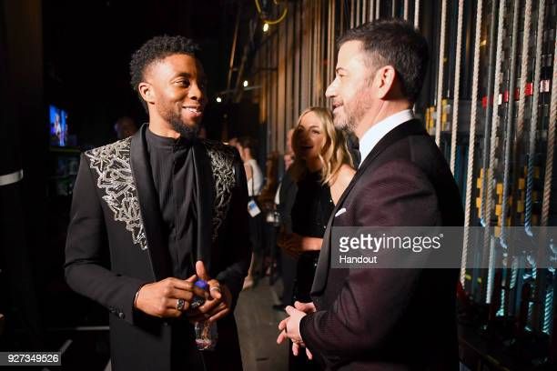 In this handout provided by AMPAS Chadwick Boseman and Jimmy Kimmel attend the 90th Annual Academy Awards at the Dolby Theatre on March 4 2018 in...