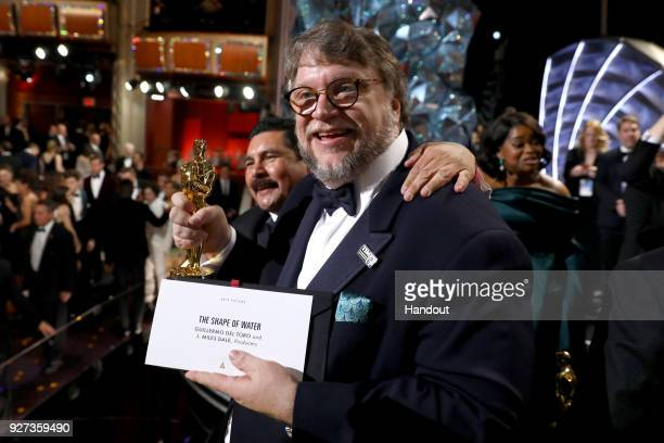 In this handout provided by AMPAS Director Guillermo del Toro attends the 90th Annual Academy Awards at the Dolby Theatre on March 4 2018 in...
