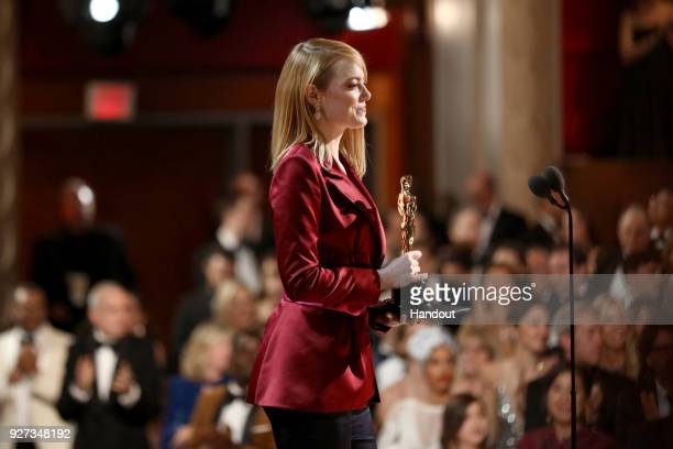 In this handout provided by AMPAS Emma Stone attends the 90th Annual Academy Awards at the Dolby Theatre on March 4 2018 in Hollywood California