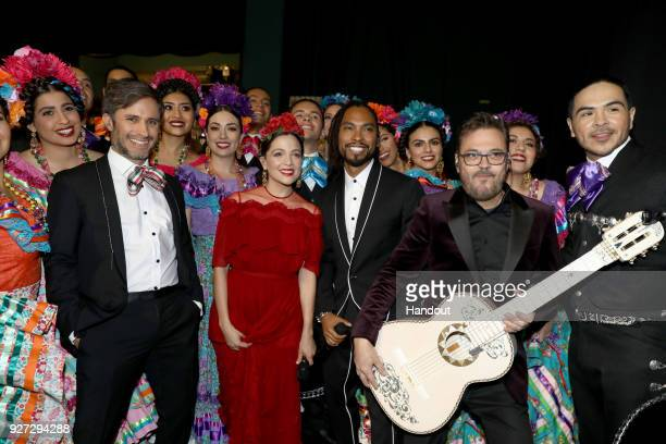 In this handout provided by AMPAS Gael Garcia Bernal and Miguel attends the 90th Annual Academy Awards at the Dolby Theatre on March 4 2018 in...