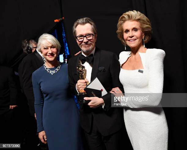 In this handout provided by AMPAS Helen Mirren Gary Oldman and Jane Fonda attend the 90th Annual Academy Awards at the Dolby Theatre on March 4 2018...