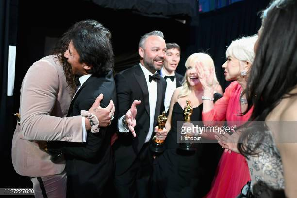 In this handout provided by AMPAS Jason Momoa winners of Best Documentary Feature Free Solo Jimmy Chin Evan Hayes Alex Honnold Shannon Dill and Helen...