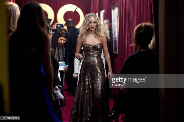 In this handout provided by AMPAS Jennifer Lawrence attends the 90th Annual Academy Awards at the Dolby Theatre on March 4 2018 in Hollywood...