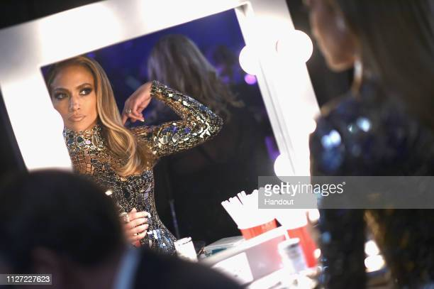 In this handout provided by AMPAS Jennifer Lopez prepares backstage during the 91st Annual Academy Awards at the Dolby Theatre on February 24 2019 in...