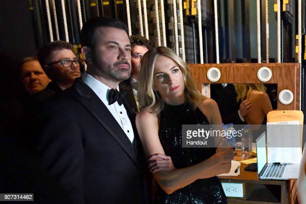 In this handout provided by AMPAS Jimmy Kimmel and Molly McNearney attend the 90th Annual Academy Awards at the Dolby Theatre on March 4 2018 in...