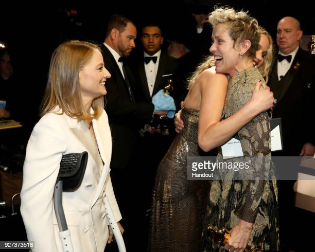 In this handout provided by AMPAS Jodie Foster Jennifer Lawrence and Frances McDormand attend the 90th Annual Academy Awards at the Dolby Theatre on...