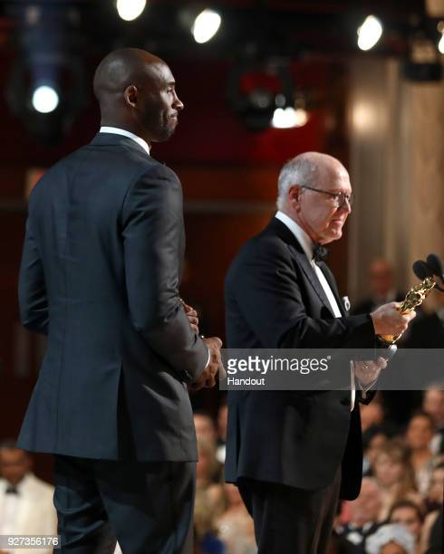 In this handout provided by A.M.P.A.S., Kobe Bryant , winner of the Best Animated Short Film award for 'Dear Basketball,' attends the 90th Annual...