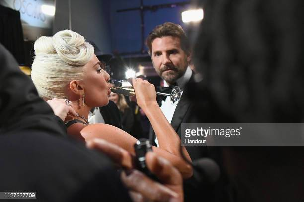 In this handout provided by AMPAS Lady Gaga and Bradley Cooper pose backstage during the 91st Annual Academy Awards at the Dolby Theatre on February...