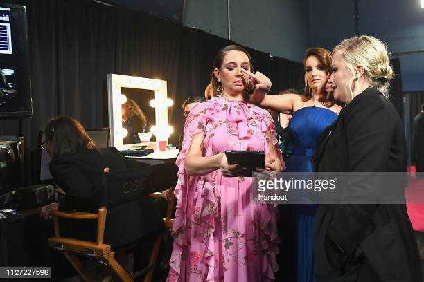 In this handout provided by AMPAS Maya Rudolph Tina Fey and Amy Poehler pose backstage during the 91st Annual Academy Awards at the Dolby Theatre on...