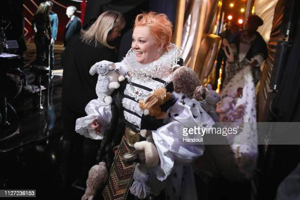 In this handout provided by AMPAS Melissa McCarthy walks backstage during the 91st Annual Academy Awards at the Dolby Theatre on February 24 2019 in...