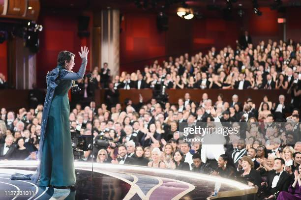 In this handout provided by A.M.P.A.S., Olivia Colman accepts the Actress in a Leading Role award for 'The Favourite' onstage during the 91st Annual...