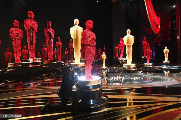 In this handout provided by AMPAS Oscar decor is seen during the 91st Annual Academy Awards at the Dolby Theatre on February 24 2019 in Hollywood...