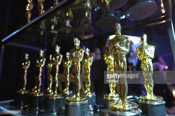 In this handout provided by AMPAS Oscar statues are seen backstage during the 91st Annual Academy Awards at the Dolby Theatre on February 24 2019 in...