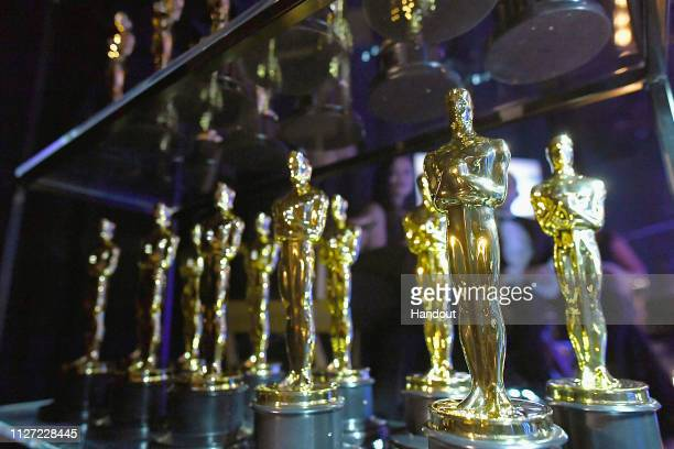 In this handout provided by A.M.P.A.S., Oscar statues are seen backstage during the 91st Annual Academy Awards at the Dolby Theatre on February 24,...