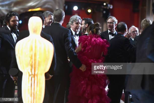 In this handout provided by AMPAS Peter Farrelly reacts onstage as 'Green Book' wins the Best Picture award during the 91st Annual Academy Awards at...