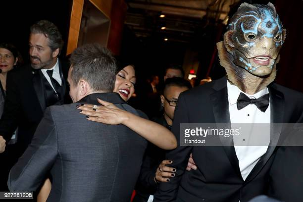 In this handout provided by AMPAS Sam Rockwell and Taraji P Henson attends the 90th Annual Academy Awards at the Dolby Theatre on March 4 2018 in...