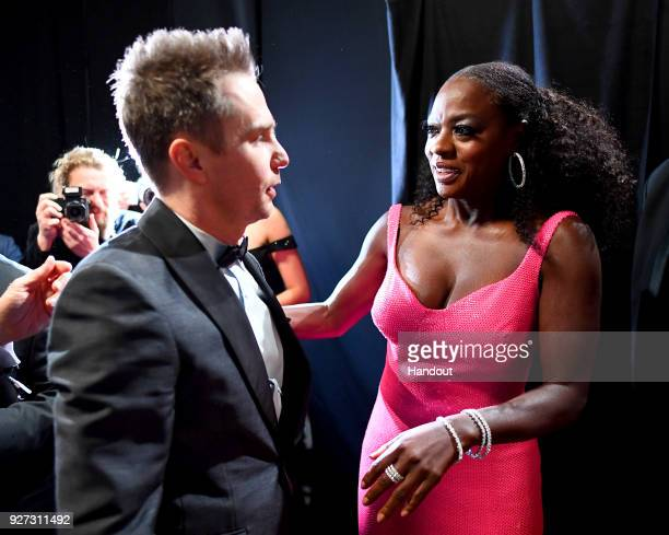 In this handout provided by AMPAS Sam Rockwell and Viola Davis at the 90th Annual Academy Awards at the Dolby Theatre on March 4 2018 in Hollywood...