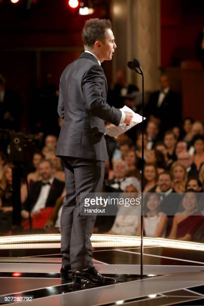 In this handout provided by AMPAS Sam Rockwell attends the 90th Annual Academy Awards at the Dolby Theatre on March 4 2018 in Hollywood California