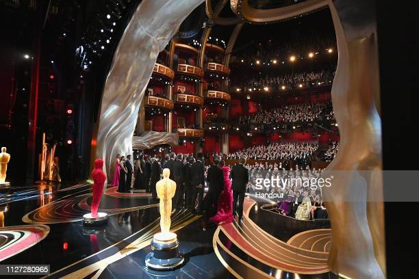 In this handout provided by AMPAS The crew of Green Book react onstage after winning the Best Picture award during the 91st Annual Academy Awards at...