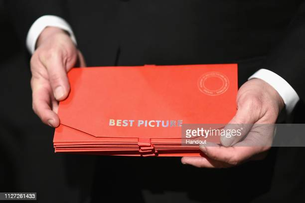 In this handout provided by A.M.P.A.S., The envelope for Best Picture is seen backstage during the 91st Annual Academy Awards at the Dolby Theatre on...