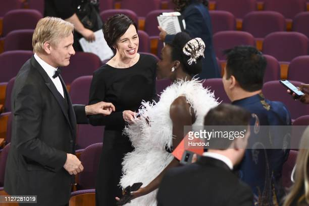 In this handout provided by AMPAS Viggo Mortensen Ariadna Gil and Lupita Nyong'o attend the 91st Annual Academy Awards at the Dolby Theatre on...
