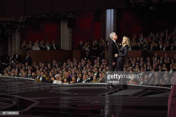 In this handout provided by AMPAS Warren Beatty and Faye Dunaway attend the 90th Annual Academy Awards at the Dolby Theatre on March 4 2018 in...