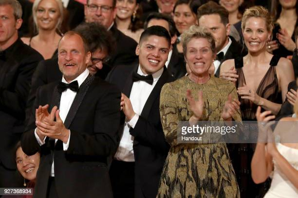 In this handout provided by AMPAS Woody Harrelson and Frances McDormand attends the 90th Annual Academy Awards at the Dolby Theatre on March 4 2018...