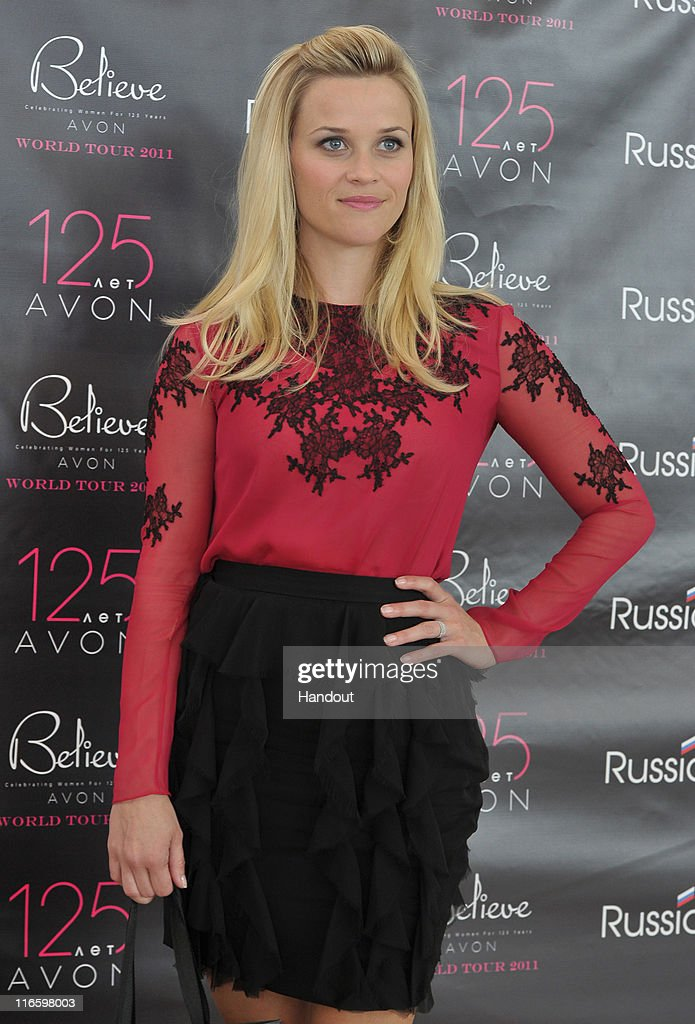 In this handout provided by Avon, Avon Global Ambassador Reese Witherspoon attends the Avon Believe World Tour on June 16, 2011 in Moscow, Russia.