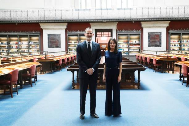 ESP: Spanish Royals Visits The National Library