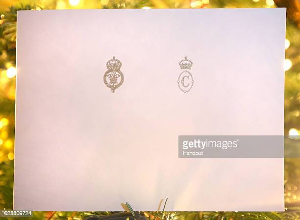 In this handout provided by Clarence House on December 10 shows the front of the Prince of Wales and Duchess of Cornwall's 2016 Christmas card on a...
