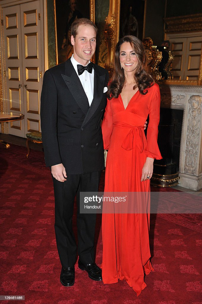 In this handout provided by Clarence House, Prince William, Duke of Cambridge (L) and Catherine, Duchess of Cambridge (R) attend a fundraising Gala organised by 100 Women in Hedge Funds in aid of the Child Bereavement Charity at St James's Palace on October 13, 2011 in London, England.