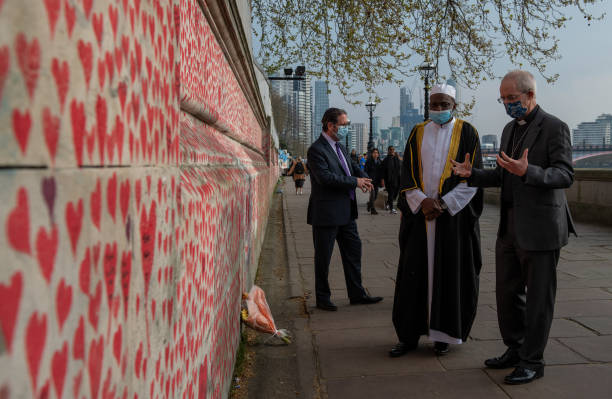 GBR: Archbishop Of Canterbury Visits The Covid Memorial Wall