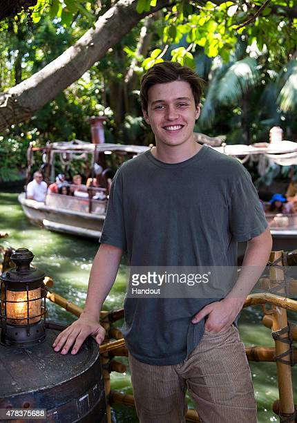 In this handout provided by Disney Parks Actor Nick Robinson poses for a photo during the Jungle Cruise while visiting Disneyland on June 24 2015 in...